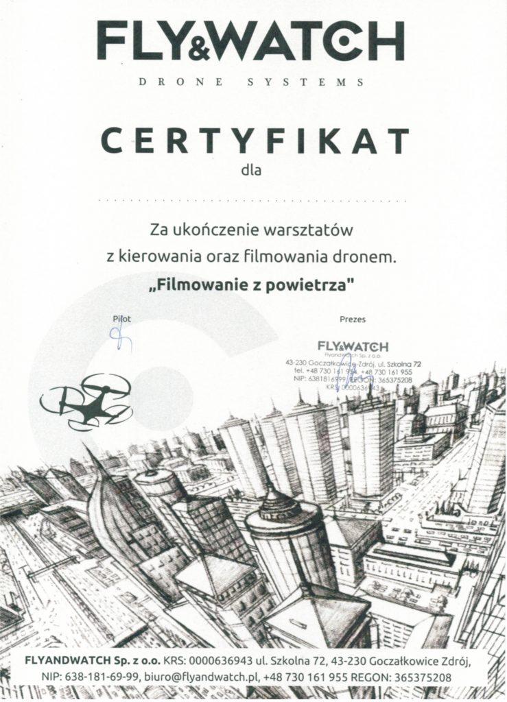 certyfikat lotu dronem FlyandWatch